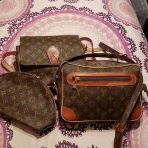 Vtg Louis Vuitton Lot of 3 Shoulder & Makeup Bags